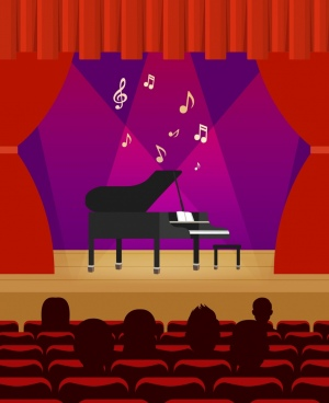 stage decoration red curtain piano icon design