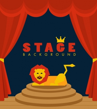 stage decoration template 3d colored decor lion icon