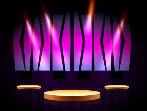 stage design 3d shiny light decoration violet backdrop
