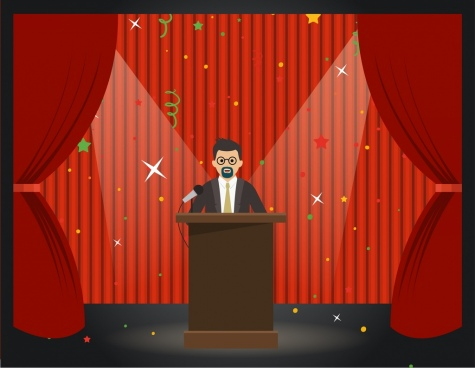 stage design classical red curtain decoration lecturer icon