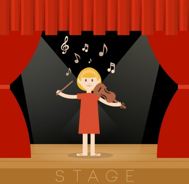 stage design template red curtain decoration violinist icon