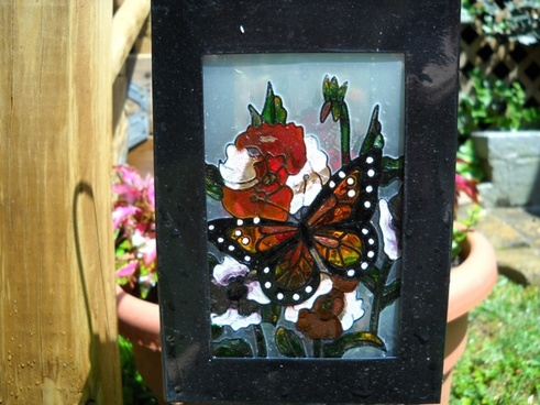 stained glass garden ornament