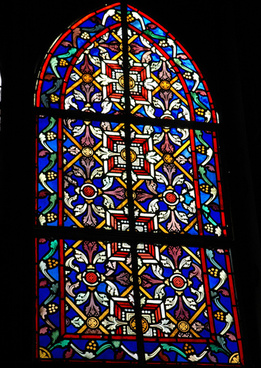 stained glass window iglesia santa barbara de santa rosalia designed by gustave eiffel gothic pre fabricated metal church san rosalia baja california sur mexico dedicated 1887