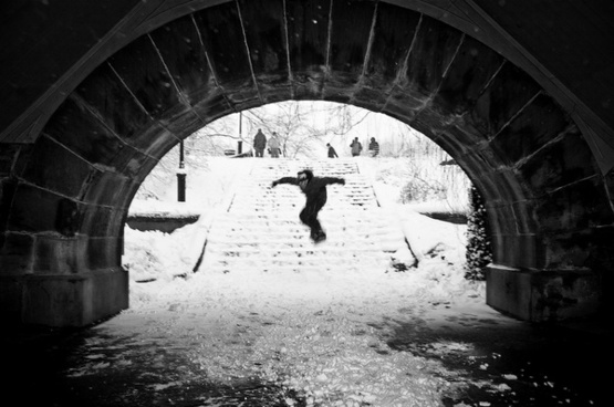 stair snow surfing