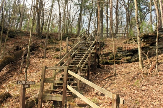 staircase at rocky arbor state park wisconsin