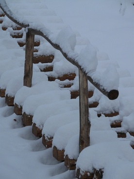 stairs wood stairs winter
