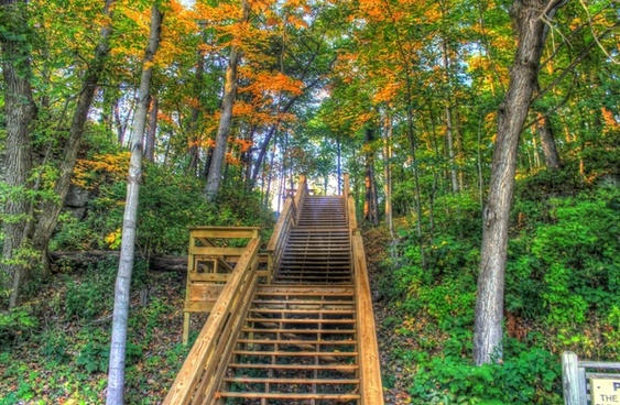 stairway at apple river canyon state park illinois