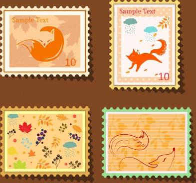 stamp templates collection wildlife fox icons decoration