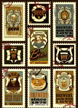 stamp vintage beer vector