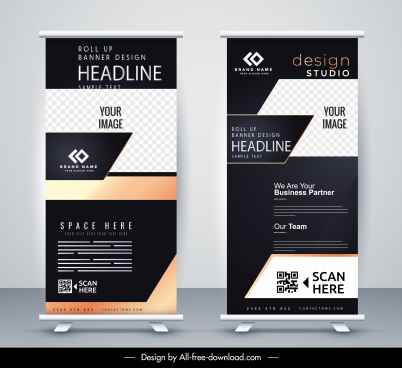 standee banner templates elegant modern dark decor