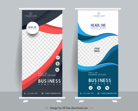 standee banner templates modern elegant checkered curves decor