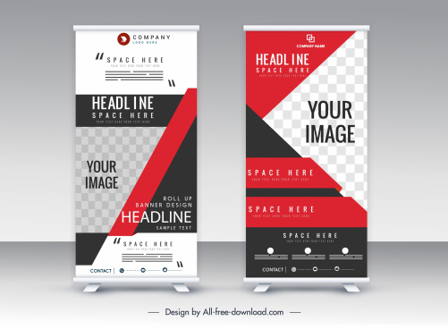 standee banner templates vertical roll shape colorful modern