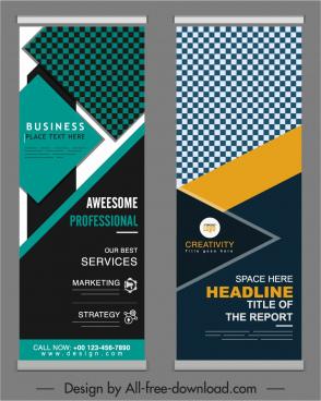 standee business banner templates modern elegant checkered geometry