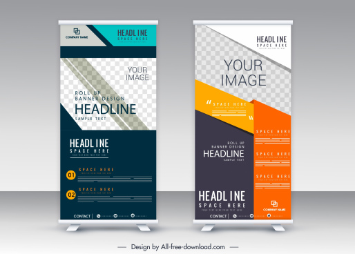 standee roll banner template colorful vertical modern design