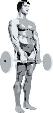 Standing Body Builder Carrying Weights clip art