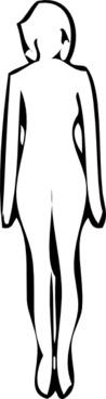 Standing Woman White Silhouette clip art