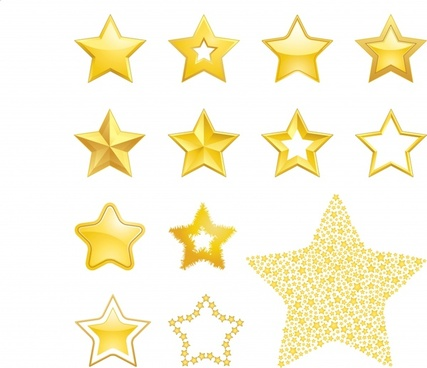 stars design elements modern shiny golden decor