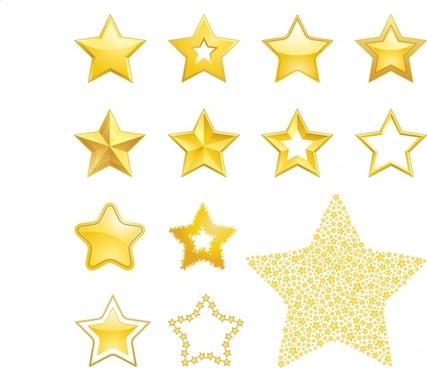 stars design elements modern shiny golden decor