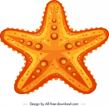 starfish icon yellow flat sketch