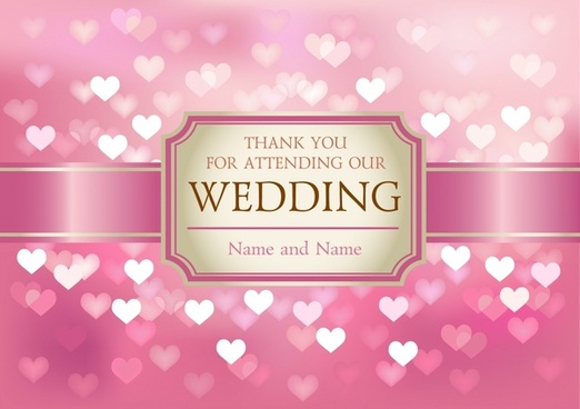 wedding card cover template blurred hearts shapes luxury pink
