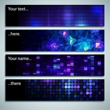 banner templates horizontal modern blue lights polygonal decor