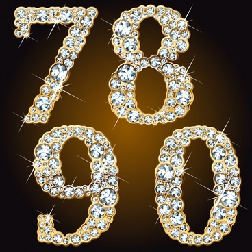 gems digits icons gorgeous sparkling diamond decor