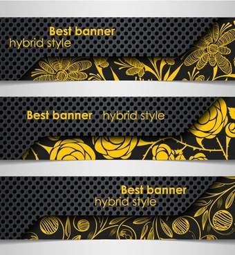 decorative banner templates elegant floral decor handdrawn sketch
