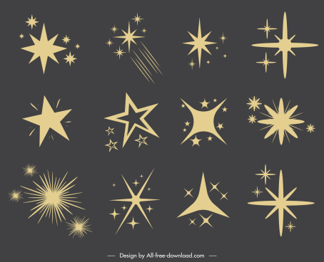 stars icons dynamic sparkling shapes classic flat design
