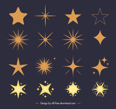 stars icons flat shapes classic design