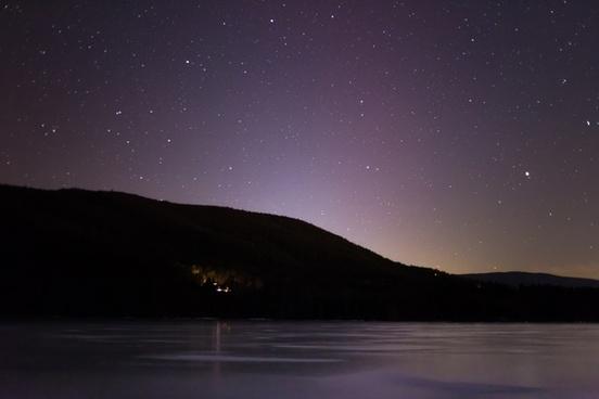 stars night mountains lake ice