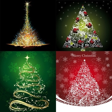 starstudded christmas tree vector