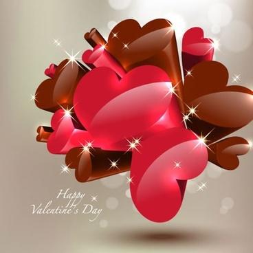 valentine banner sparkling shiny hearts modern 3d design