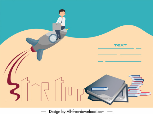 startup banner man soaring rocket book stack sketch