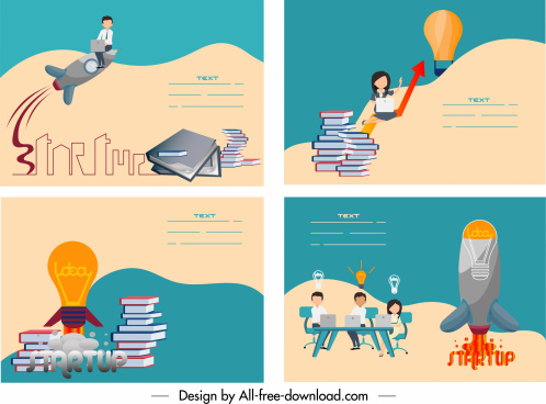 startup banners lightbulb spaceship book stacks staffs sketch