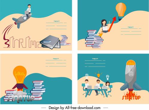 startup banners lightbulb spaceship book stacks staffs sketch