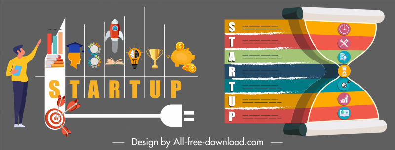 startup infographic templates colorful flat symbols sketch
