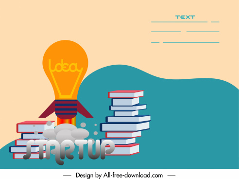 startup poster book stack lightbulb sketch