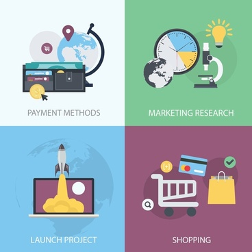 startup project concepts illustration with various steps