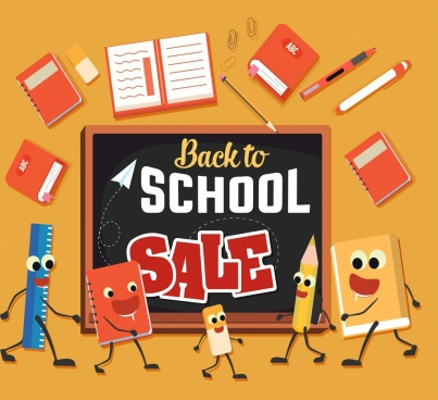stationary sale banner school tools icons stylized design