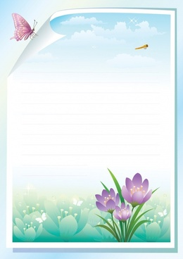 spring background butterfly flower dragonfly icons rolled page
