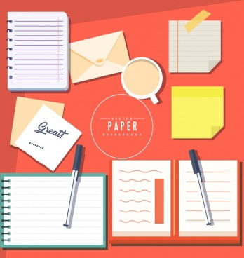 stationery design elements pen notebook paper icons