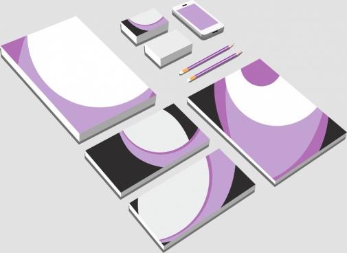 stationery icons 3d modern white violet mockup design