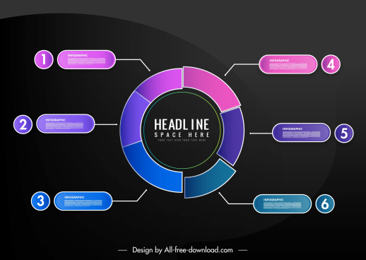 statistic infographic template circle sections layout modern dark