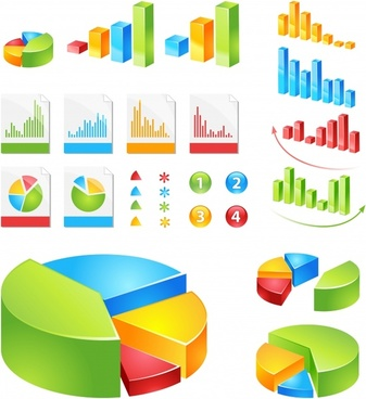 chart templates pie column sketch modern colored 3d