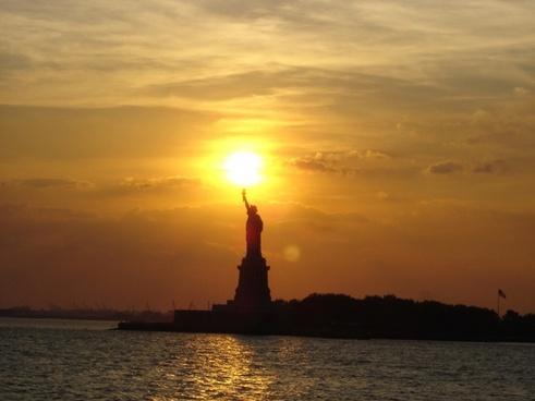statue of liberty new york city sunset