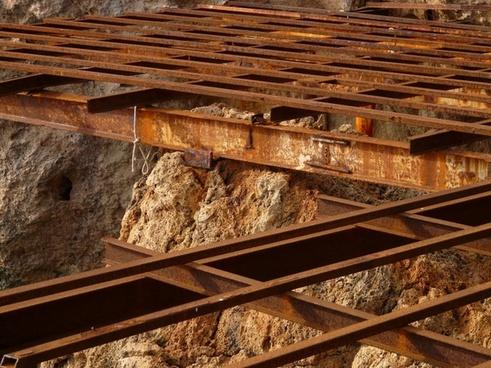 steel beams old rusty