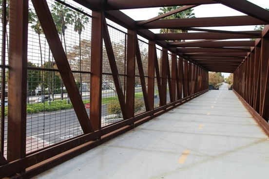 steel bridge tunnel at angle