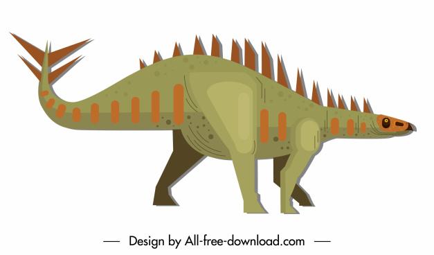 stegosaurus dinosaur icon colored cartoon sketch