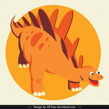 stegosaurus dinosaur icon cute cartoon character orange decor