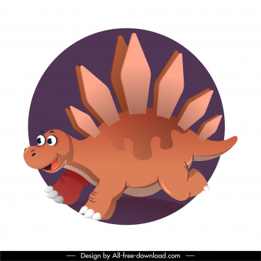 stegosaurus dinosaur icon funny cartoon character sketch